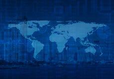 Kropkowana światowa mapa na miasta wierza, Globalny biznes, elementy thi Fotografia Stock