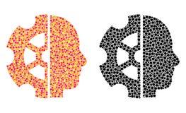 Kropkowane intelekt mozaiki ikony ilustracja wektor