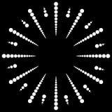 Kropkowany promieniowy, promieniujący linię Kurenda kropkuje motyw Abstrakt bl ilustracja wektor