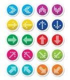 Kropkowanych kolorowych strzała round ikony ustawiają odosobnionego na bielu Fotografia Stock