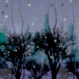 Krople na szkle po tym jak deszcz i widok las przy półmrokiem royalty ilustracja