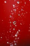 Krople woda z czerwonym tłem Zdjęcie Royalty Free