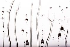 Krople wodny spływanie zestrzelają szkło, czarny i biały Obraz Royalty Free