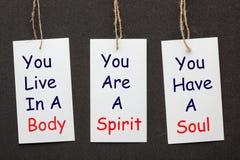 Kropp, anda och ande royaltyfri bild