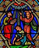 Kropp av Kristus - målat glass royaltyfria bilder