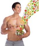 Kropp b för sallad för flyg för mat för bodybuildingkroppsbyggare sund äta arkivfoton