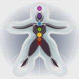 7 kropp Chakras med Mandalas, sjuhörningen och Auric fält Arkivfoton