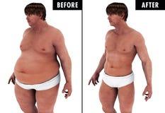 Kroppen för manviktförlust omformar före och efter Arkivbild