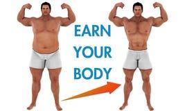 Kroppen för manviktförlust omformar motivation Arkivbilder