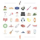 Kroppen, medicin, organet och annan rengöringsduksymbol i tecknad film utformar utrustning hjälpmedel, matsymboler i uppsättnings royaltyfri illustrationer
