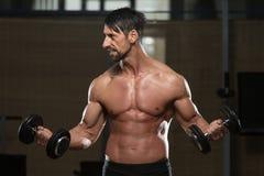 Kroppsbyggare som övar biceps med hantlar Fotografering för Bildbyråer