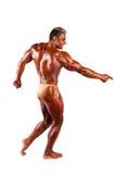 Kroppsbyggare som böjer hans muskler i studio royaltyfri fotografi