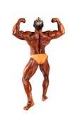 Kroppsbyggare som böjer hans muskler i studio arkivbild