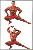 Kroppsbyggare som böjer hans muskler i studiouppsättning Royaltyfri Foto