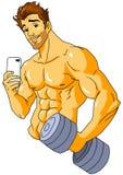 Kroppsbyggare som tar en selfie i idrottshallen Arkivbild