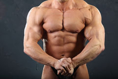 kroppsbyggarehanden tränga sig in den starka torsoen Royaltyfri Foto