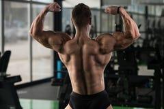 Kroppsbyggarekonditionmodell Posing Double Biceps efter övningar royaltyfri fotografi
