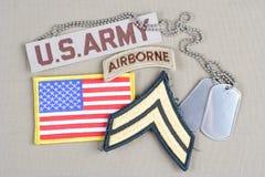 Kroppslig frodig lapp för USA-ARMÉ, luftburen flik, flaggalapp och hundetikett Royaltyfri Fotografi