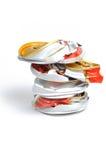 krossad pop för aluminum cans Arkivbilder