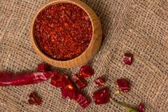 Krossad varm peppar för röd chili Fotografering för Bildbyråer