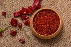 Krossad varm peppar för röd chili Royaltyfria Foton