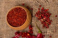 Krossad varm peppar för röd chili Arkivbilder