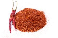Krossade röda Chili Pepper flingor Royaltyfri Foto