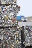 Krossade Tin Cans For Recycling Royaltyfria Bilder