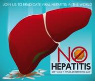 Krossande virusbild för sund lever som främjar utrotning av hepatit, vektorillustration royaltyfri illustrationer
