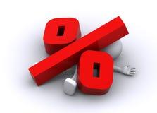 krossat procentsymbol för stort tecken 3d Royaltyfri Fotografi