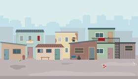 Krottenwijk Hutten en oude geruïneerde huizen bij de straat royalty-vrije illustratie