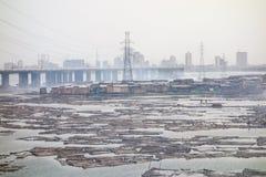 Krottenwijken in Lagos Nigeria Royalty-vrije Stock Foto