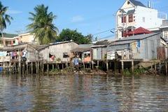 Krottenwijken in Mekong Rivierdelta Royalty-vrije Stock Afbeelding