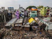 Krottenwijkgebied in Chennai, India stock foto