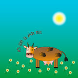 Krowa na błękitnym tle Obraz Royalty Free