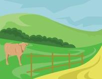 Krowa paśnik na łące ilustracja wektor