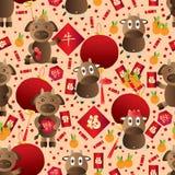 Krowa roku zodiaka Chiński bezszwowy wzór Obrazy Stock