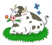 Krowa W łące ilustracji