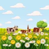 Krowa, wiosna krajobraz, gospodarstwo rolne, pola, łąki, stokrotki i dandelions, ilustracji