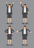 Körper-Sprache der Berufsfrau in formalem Grey Suit Vector I Lizenzfreie Stockbilder