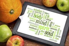 Körper, Verstand, Geist und Seele fassen Wolke ab Lizenzfreies Stockbild