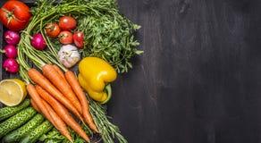 Körsbärsröda tomater för färgrika olika organiska lantgårdgrönsakmorötter, vitlök, gurka, citron, peppar, rädisa, salt peppe för  Royaltyfri Bild