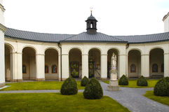 Krtiny church garden Royalty Free Stock Images
