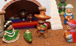Krubba med den heliga familjen i mexicansk version 1 Royaltyfri Fotografi