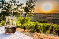 Krug Wein auf Tabelle in der Landschaft Stockfotografie
