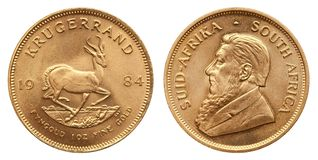 Krugerrand 1 oz gold coin south africa 1984 stock photo