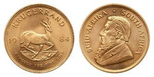 Krugerrand 1 uns guld- mynt Sydafrika 1984 arkivfoto