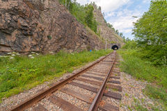 The Krugobajkalsky railway. Tunnel Stock Photography