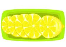 Kruid een sappige citroen Plakken op een schotel Aromatisch behandel De bron van vitaminen en spoorelementen Vector illustratie vector illustratie