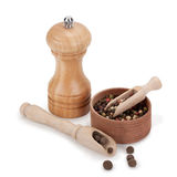 Kruid, molen en houten werktuigen Stock Afbeeldingen